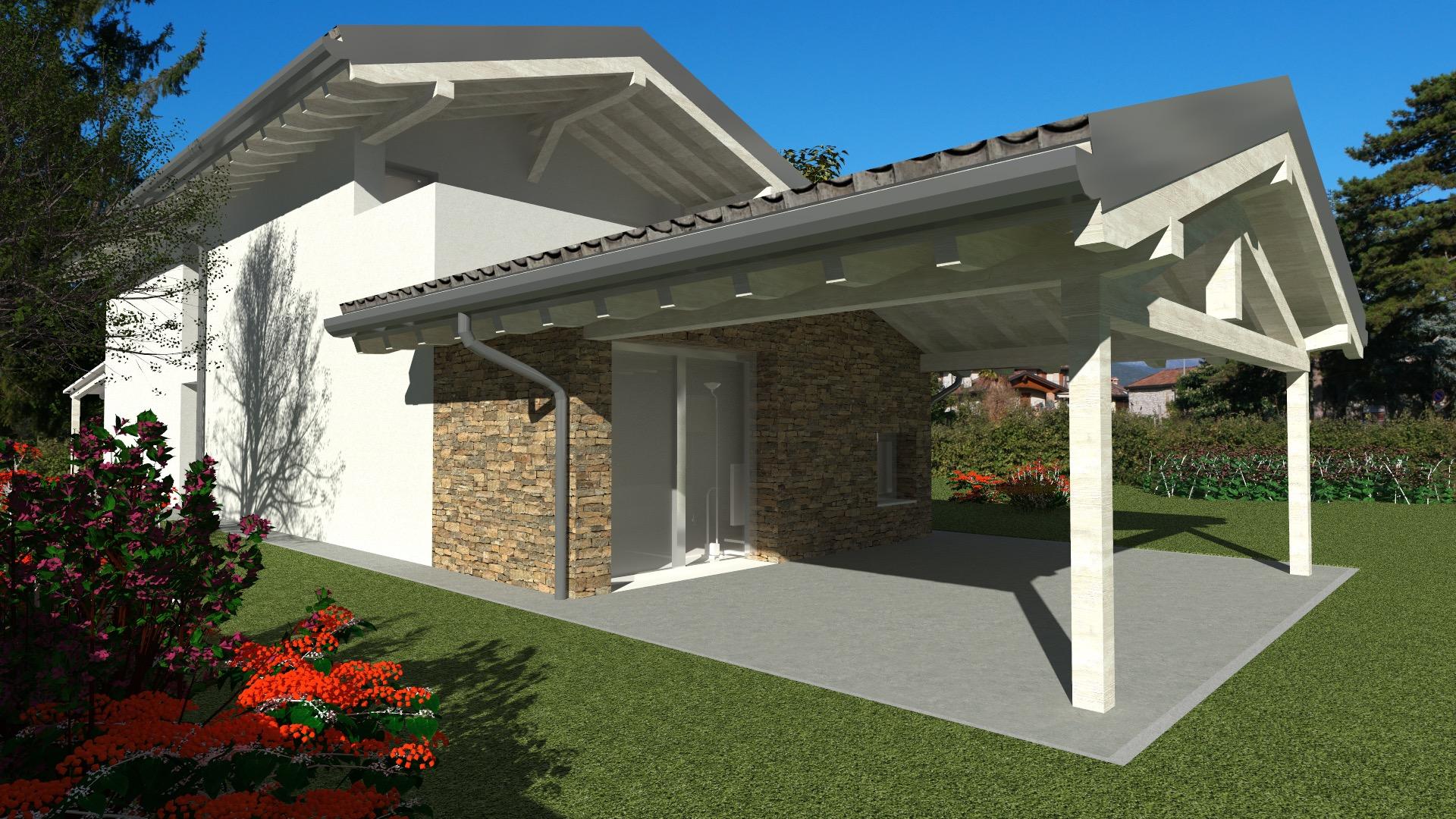 Villa bicamere più studio con giardino di 770mq