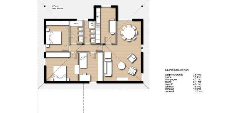 Villa unico piano bicamere più studio